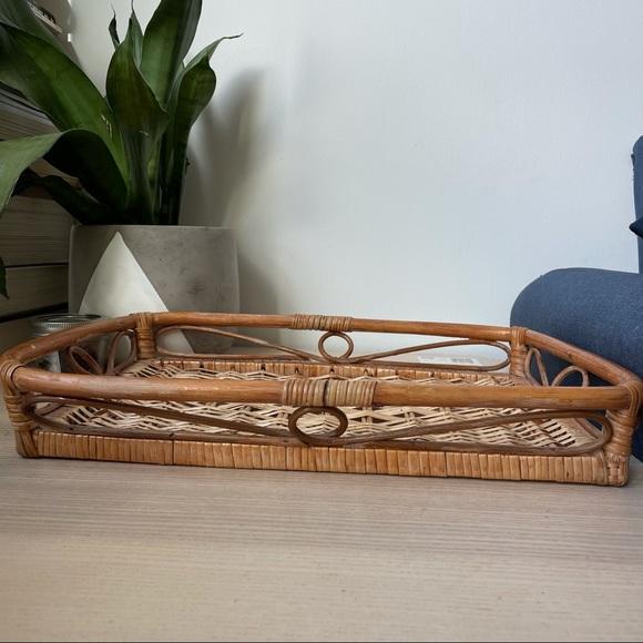 Vintage - Wicker Woven Tray Basket